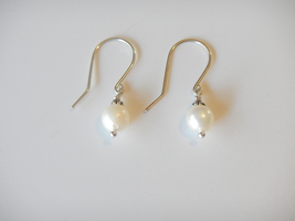 Pearl Dangle Earrings, Natural White Akoya Pearls, Sterling Silver Ear W... - $15.00
