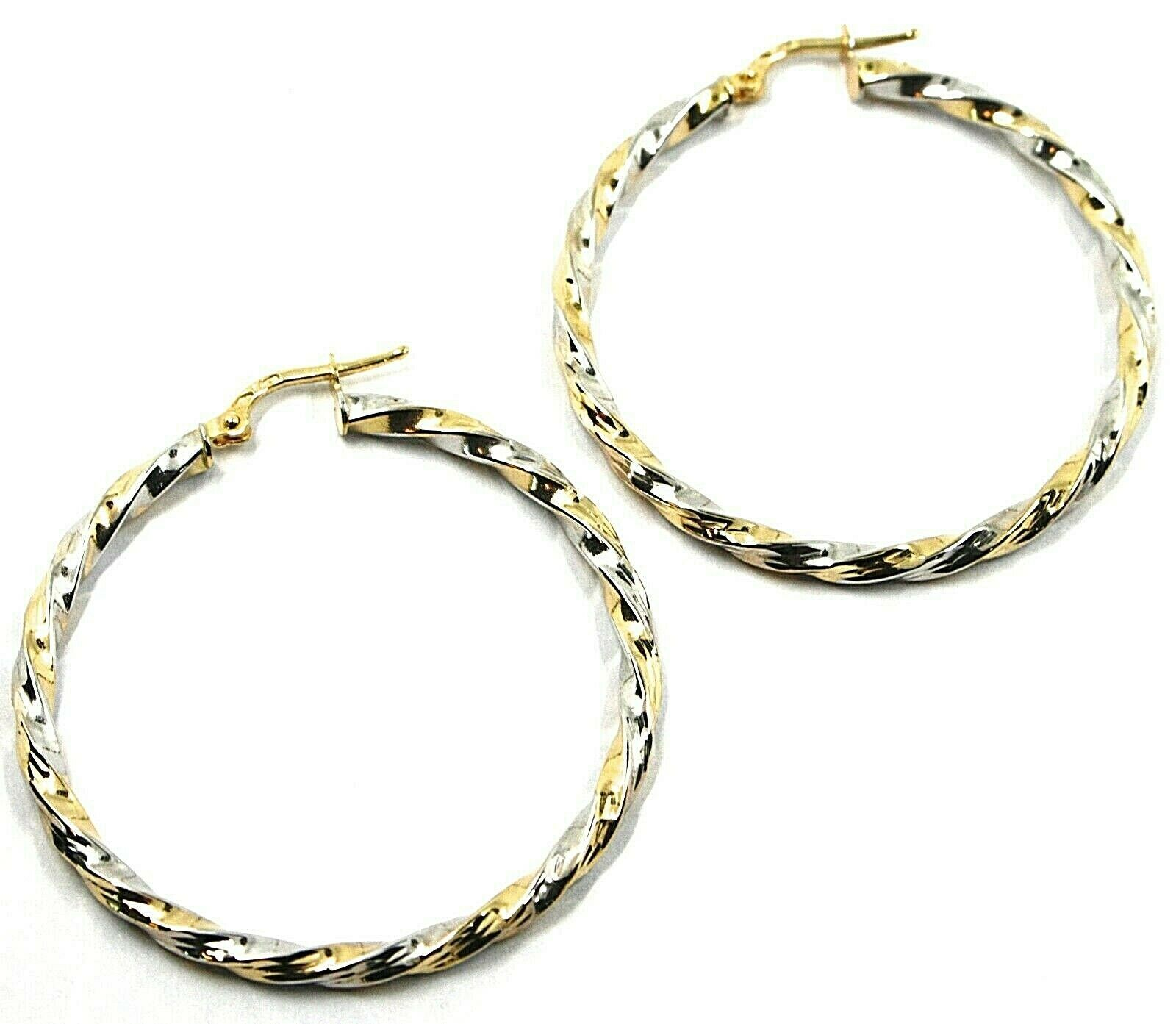 18K YELLOW WHITE GOLD CIRCLE HOOPS PENDANT EARRINGS, 4 cm x 3mm TWISTED, BRAIDED