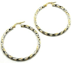 18K YELLOW WHITE GOLD CIRCLE HOOPS PENDANT EARRINGS, 4 cm x 3mm TWISTED, BRAIDED image 1