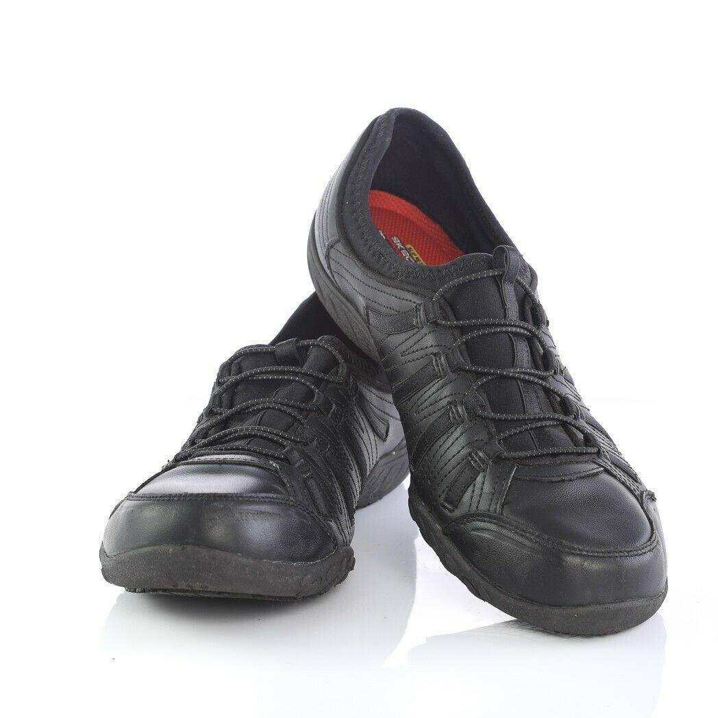 Skechers Work Black Relaxed Fit Fashion Sneakers Slip On Memory Foam Womens 9