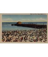 Beach and Pier vintage linen postacard Coney Island N Y New York  - $8.95