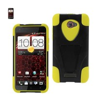 REIKO HTC DROID DNA HYBRID HEAVY DUTY CASE WITH KICKSTAND IN BLACK YELLOW - $9.25