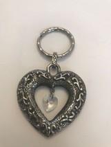 Silvertone Filigree Metal Heart Shaped Dangle Crystal Keychain Key Fob J... - $8.54