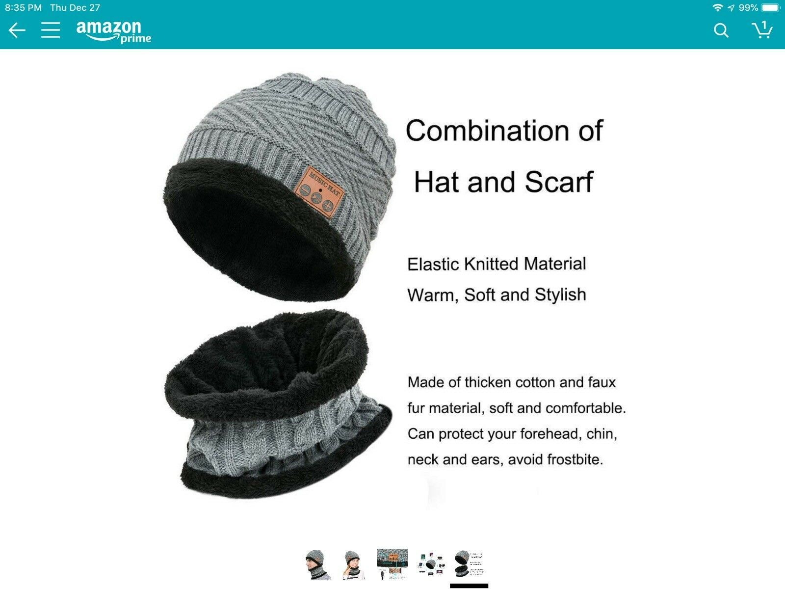 Primary image for Wireless Beanie Music Warm Knitted Hat And Scarf Set,Gray