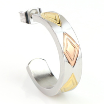 Contemporary Tri-Color Silver, Gold & Rose Tone Hoop Earrings- United Elegance - $14.99