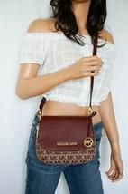 Michael Kors Bedford Small Flap Crossbody Jacquard Leaher Bag MK Beige O... - $94.04