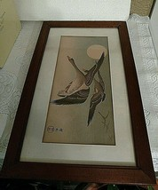 Japanese Ink Painting of Geese in Flight Antique Early19TH Century Signed - $1,579.05