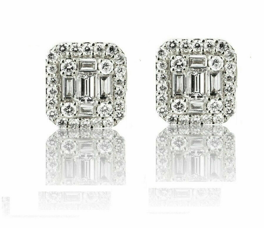 Primary image for 0.80CT Baguette & Round Created Diamond Cluster Earrings 14K White Gold Over