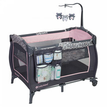 Baby Pack Play Playard Grey Pink Bassinet Infant Portable Crib Diaper Or... - $90.42