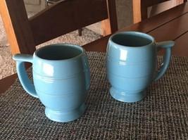 Pair Of RARE Vtg Sky Blue Frankoma  Mugs Coffee bx68 - $46.71