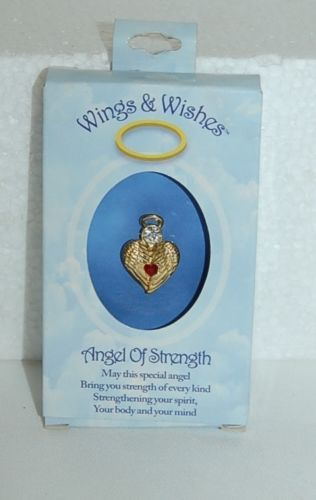 DM Merchandising Wings Wishes Strength Angel Gold Colored Clear Rhinestone
