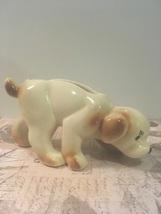 Vintage Pottery Dog Planter Vase Brown & White Puppy FIgural Mid  Centur... - $10.99