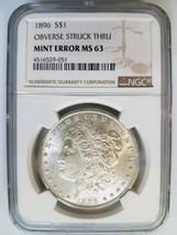 1896 Silver Morgan Dollar NGC MS 63 Struck Thru Strike Through Mint Erro... - $199.99