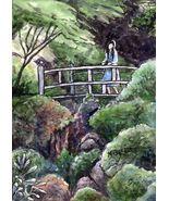 ACEO Original Painting Girl on Bridge Japanese garden landscape green fi... - $16.00