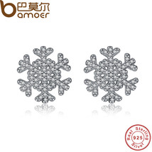 BAMOER Unique Snowflake Stud Earrings Paved Micro Clear CZ Original 925 ... - $21.33