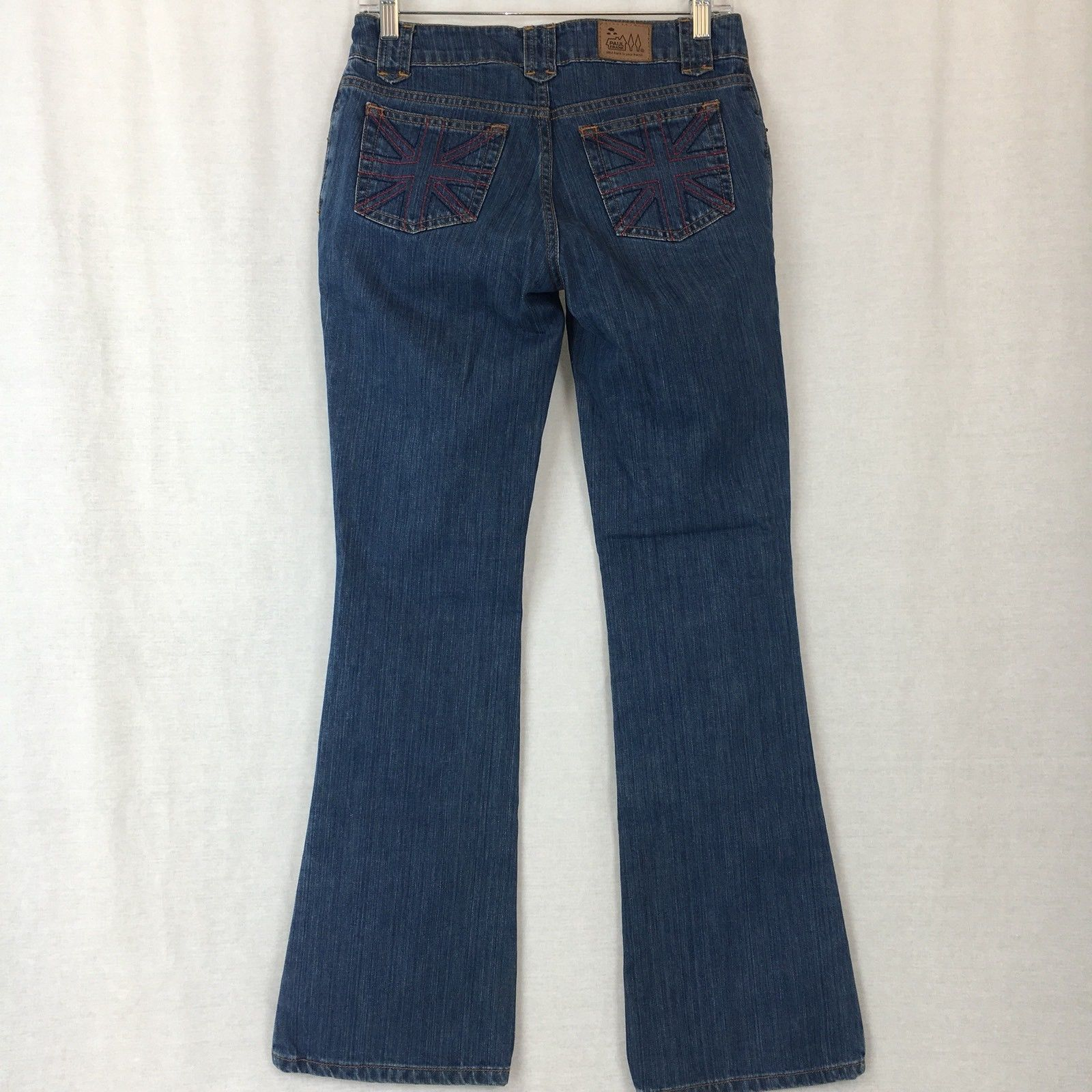 Paul Frank Womens Jeans Flare Medium Wash Low Rise Cotton Juniors Size 3x32