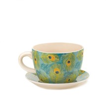 Peacock Feather Teacup Planter - $31.65