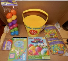 Easter Mix Lot 7 Items Basket Paper Grass Stickers Sports Eggs Racer Dye 163E - $12.49