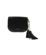 $298 Michael Kors Elyse Large Saddle Leather Bag Black - $197.99