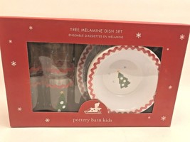 Pottery Barn Kids Christmas Tree Melamine Dish Set Plates Cups Bowls  - $65.03