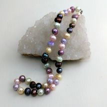 """Palm Beach Pearl Necklace Hand Knotted, Multi-Colored 10-12 mm pearls, New 18"""" image 5"""