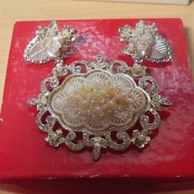 Vintage Signed TARA Rhinestone & Faux Pearl Brooch & Earring Set Wedding... - $34.65