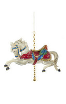 KURT ADLER RESIN WHITE CAROUSEL/DOBBY HORSE w/FANCY SADDLE XMAS ORNAMENT... - $13.88