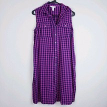 Liz Lange Women's Maternity Sleeveless Checkered Shirt Dress Pink SZ XS #D - $4.95