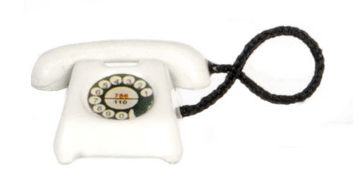 DOLLHOUSE MINIATURES WHITE TELEPHONE #G8010