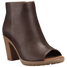 Timberland Women's Tillston Peep Toe Brown Leather Ankle Boots A1IE9 - $59.99