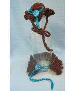 Pet Sets Dog Cat Ruffle Hat & Collar Aqua/ Brown/Copper Handmade Crochet... - $15.00