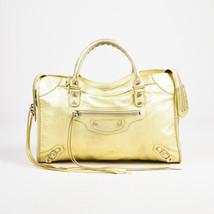 "Balenciaga Gold Metallic Leather Studded ""Classic City"" Bag - $430.00"