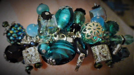 "Spandex Bracelet #73 Beautiful Teal, Swarovski Crystal, ""One of a Kind"" - $98.00"