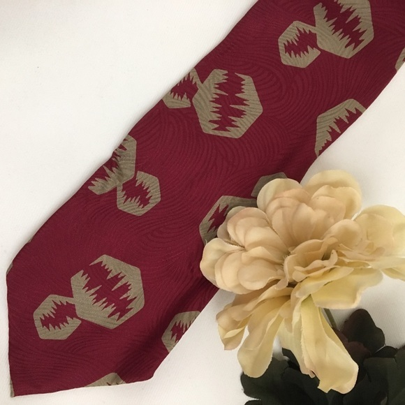 Giorgio Armani Red & Taupe Print men's silk business tie