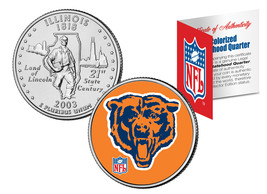 CHICAGO BEARS Retro Logo Illinois Quarter Colorized Coin Football NFL LI... - $7.87