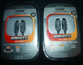 2 x Belkin FULL HDTV HDMI 6 Ft 1080P Audio Video Cable New - $19.82
