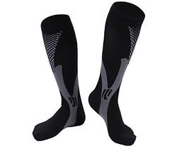 1 Pair Black/Gray/White Lg/XL TASOM Graduated Compression Socks Below Kn... - £9.30 GBP