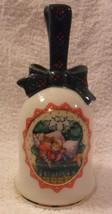 1990 Vtg Avon Waiting for Santa Porcelain Gold Trimmed Christmas Bell mi... - $17.89