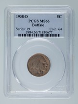 1938-D 5C Buffalo Nickel Graded by PCGS as MS-66! Rosy Toning! - $74.24