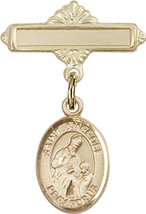 14K Gold Baby Badge with St. Ambrose Charm and Polished Badge Pin 1 X 5/8 inch - $416.46