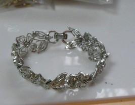 Signed Lisner Silver-tone Linked Floral Bracelet  - $17.33