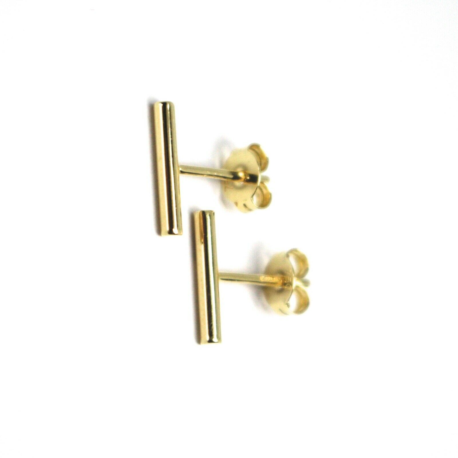 """18K YELLOW GOLD EARRINGS MINI POLE, ROUNDED BAR 10mm, 0.4"""", MADE IN ITALY"""