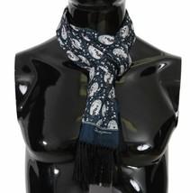 Dolce & Gabbana Gentlemens Blue Japanese Geisha Girl Print 100% Silk Scarf - $133.65