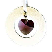 Aluminum Circle and Crystal Heart Ornament image 3