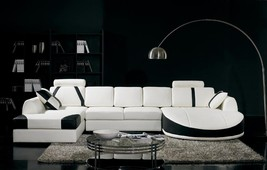 VIG Divani Casa T57 White and Black Cow Leather Living Room Sectional Sofa