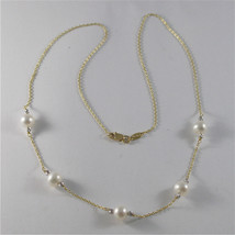 18K YELLO GOLD NECKLACE WITH ROUND WHITE 6 7 mm FRESHWATER PEARLS MADE IN ITALY  image 1