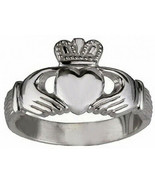 White Gold plated over sterling silver Buffy The Vampire Slayer Claddagh... - $21.99