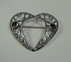 Sterling Silver Amethyst Filigree Heart Pin Brooch - $24.74