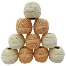 10 Cotton Yarn -5 Cream 5 Lt Tan- Tatting -Crochet Lace Knitting Thread ... - ₹845.09 INR