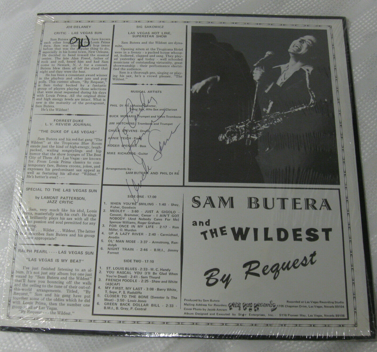 Sam Butera By Request Poor Boy PB1001 Vinyl Record Sealed LP SIGNED Cindy image 2
